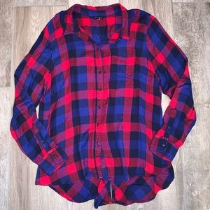 LUCKY BRAND Plaid Long Sleeve Button Up Tunic L/XL